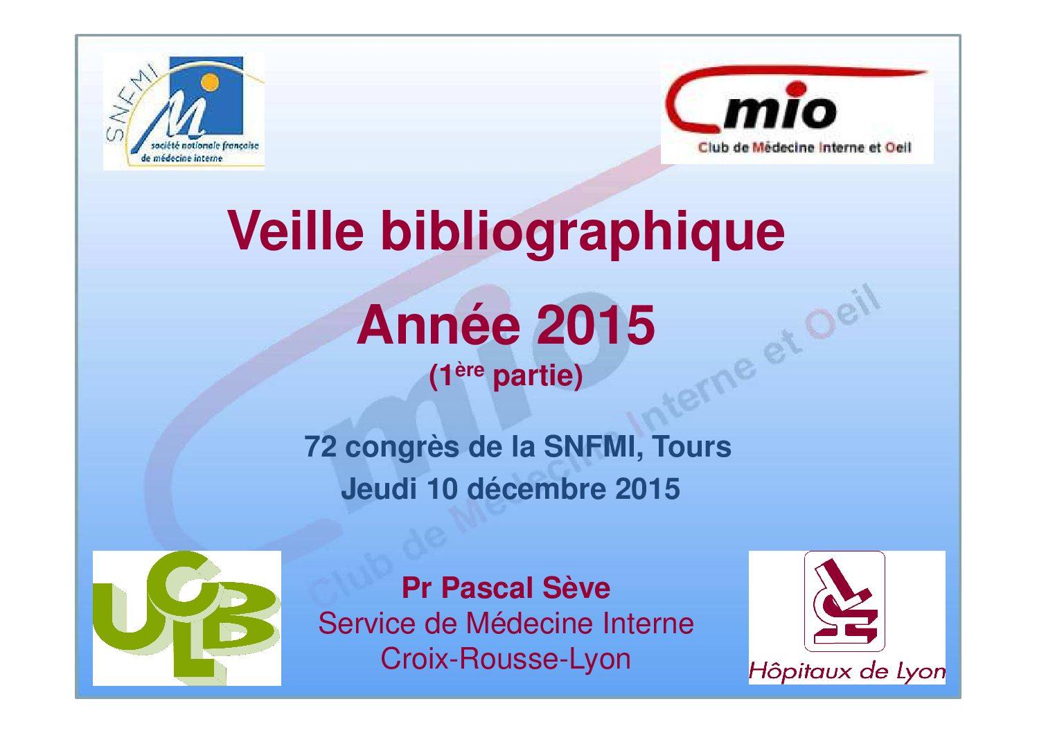 Veille bibliographique – Année 2015 (1)