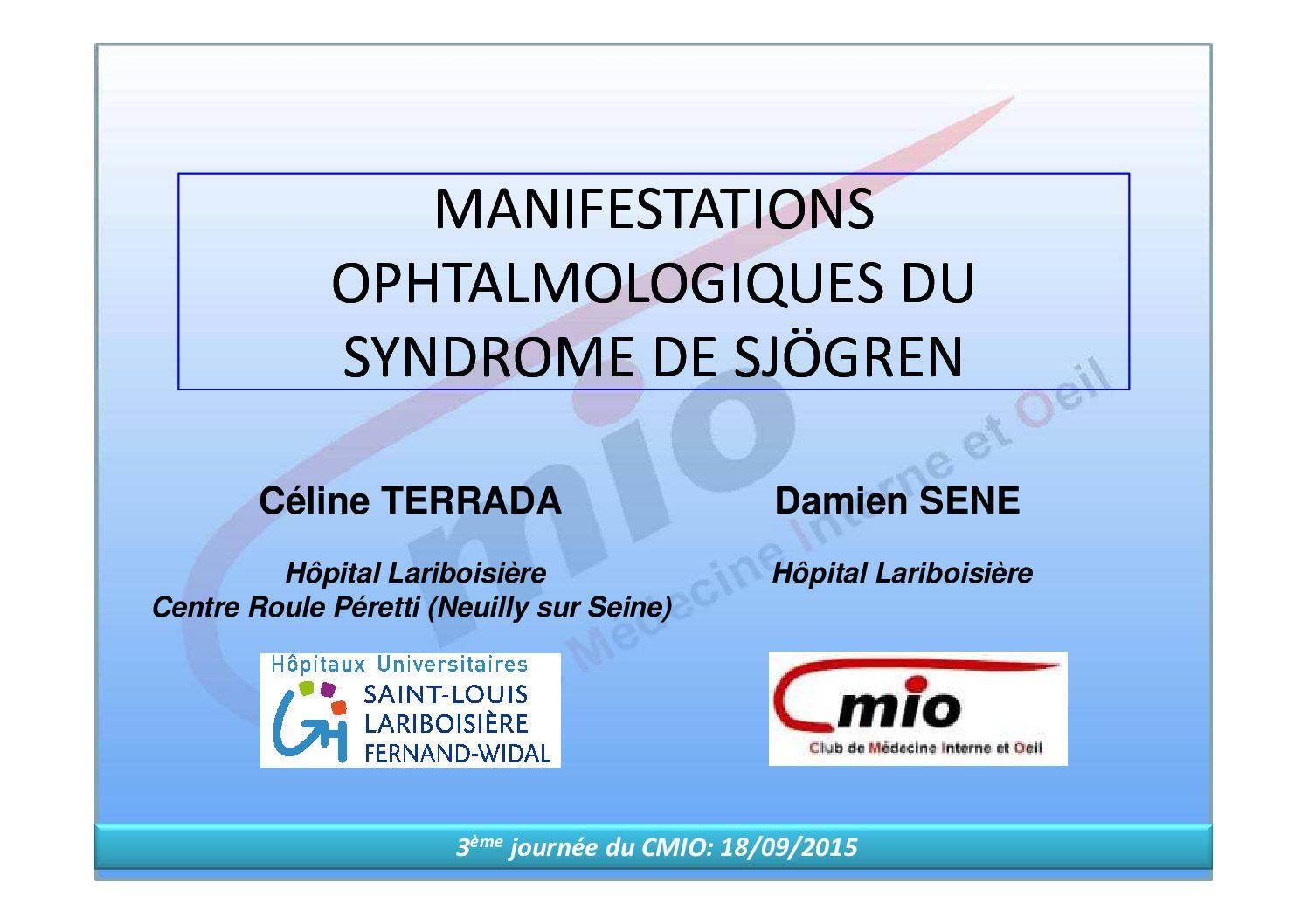 Manifestations ophtalmologiques du syndrome de Sjögren
