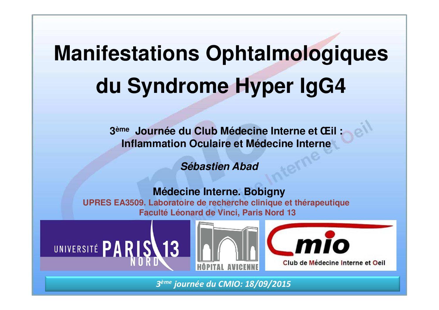 Manifestations ophtalmologiques du syndrome hyper IgG4