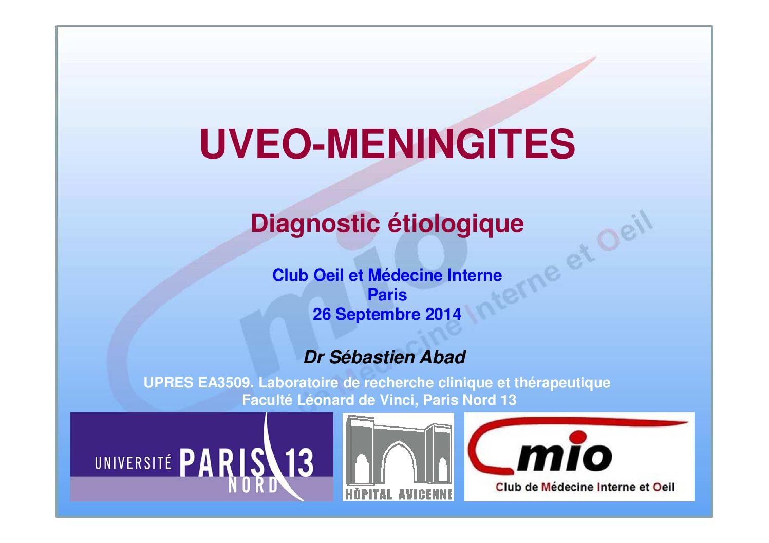 Uvéo-méningites : diagnostic étiologique