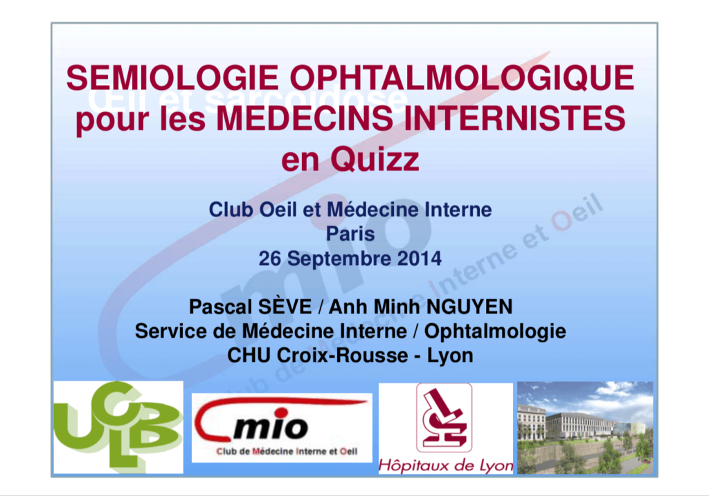 Semiologie Ophtalmologique pour les médecins internistes